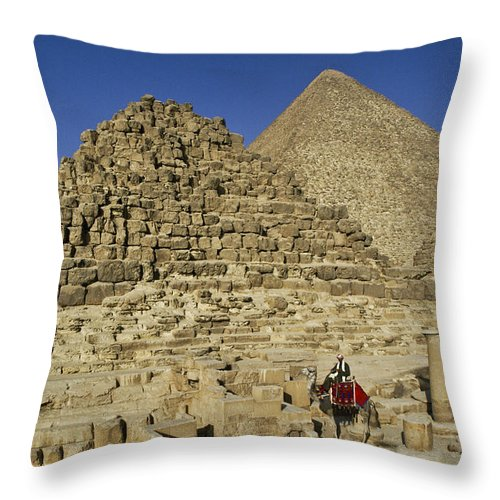 Egypt Throw Pillow featuring the photograph Egypt's Pyramids Of Giza by Michele Burgess
