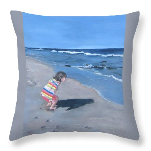 Ocean Scene Throw Pillow featuring the painting Ella by Paula Pagliughi