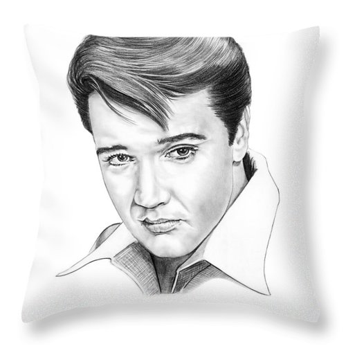 Portrait Throw Pillow featuring the drawing Elvis Presley by Murphy Elliott