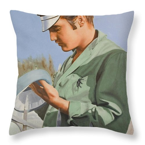 Singer Throw Pillow featuring the painting Elvis Presley by Rob De Vries