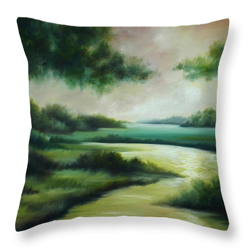Bright Clouds; Sunsets; Reflections; Ocean; Water; Purple; Orange; Storms; Lightning; Contemporary; Abstract; Realism; James Christopher Hill; James Hill Studios; James C. Hilll; Forest; Flowers; Trees; Green; River; Water Throw Pillow featuring the painting Emerald Forest by James Christopher Hill