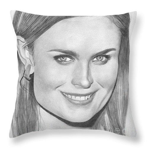 Emily Deschanel Throw Pillow featuring the drawing Emily Deschanel by Karen Townsend
