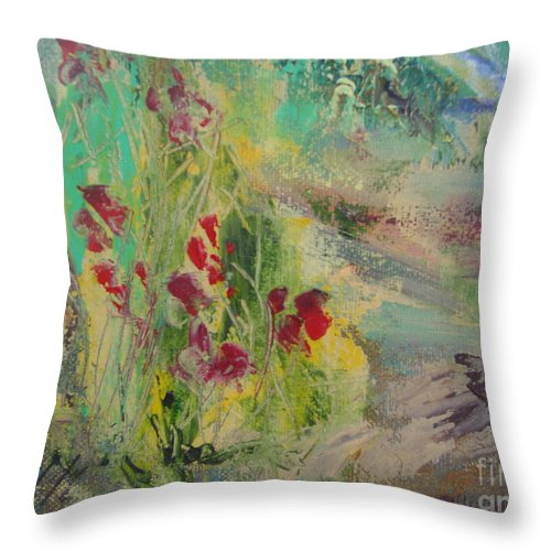 Flowers Throw Pillow featuring the painting En Douceur by Aline Halle-Gilbert