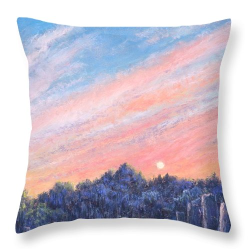 Vibrant Paintings Throw Pillow featuring the painting enchanced Catching the Sunset by Penny Neimiller