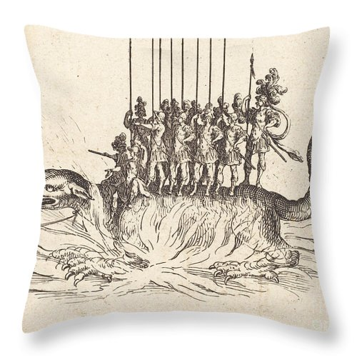 Throw Pillow featuring the drawing Entry Of Monseigneur Henry De Lorraine, Marquis De Moy, Under The Name Of Pirandre by Jacques Callot