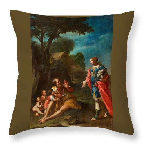Girolamo Donnini Throw Pillow featuring the painting Erminia Among The Shepherds by Girolamo Donnini