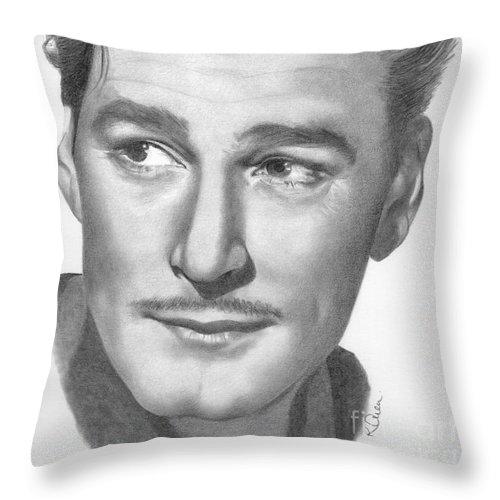 Errol Flynn Throw Pillow featuring the drawing Errol Flynn by Karen Townsend