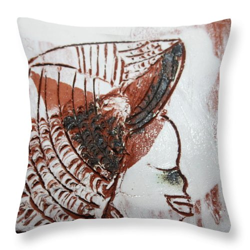 Jesus Throw Pillow featuring the ceramic art Eugenie - Tile by Gloria Ssali
