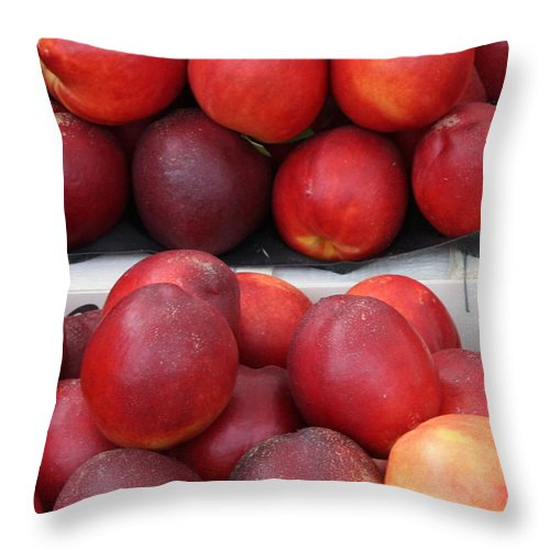Nectarines Throw Pillow featuring the photograph European Markets - Nectarines by Carol Groenen