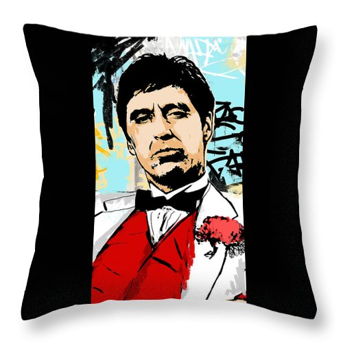 Scarface Throw Pillow featuring the digital art Even When I Lie by Canvas Cultures