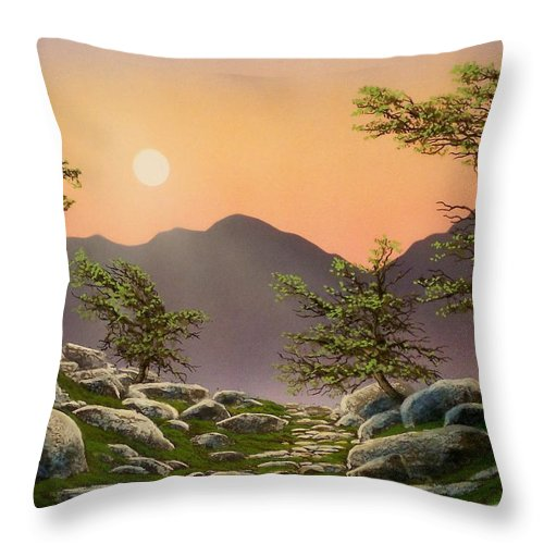 Evening Moonrise Throw Pillow featuring the painting Evening Moonrise by Frank Wilson