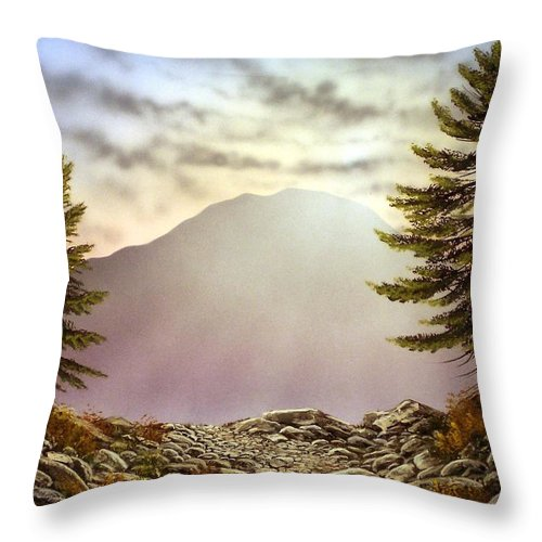 Mountains Throw Pillow featuring the painting Evening Trail by Frank Wilson