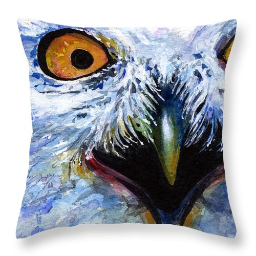 Eye Throw Pillow featuring the painting Eyes Of Owls No. 15 by John D Benson
