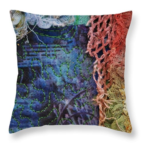 Textile Art Throw Pillow featuring the mixed media Fabric 1 by Averil Stuart-Head
