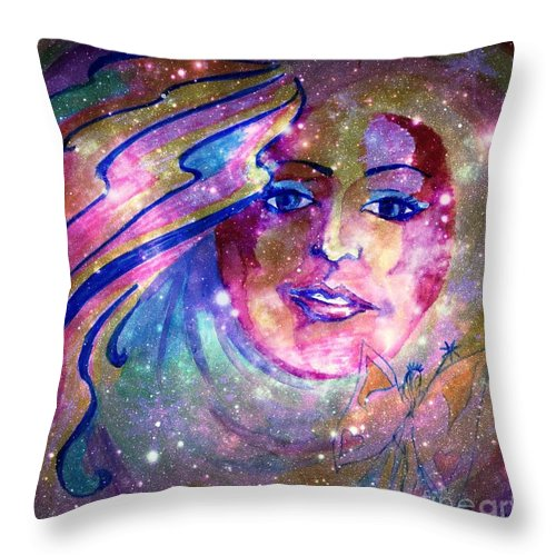Fairy Throw Pillow featuring the mixed media Faerie by Leanne Seymour