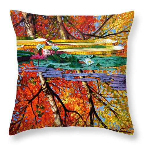 Water Lilies Throw Pillow featuring the painting Fall Reflections by John Lautermilch