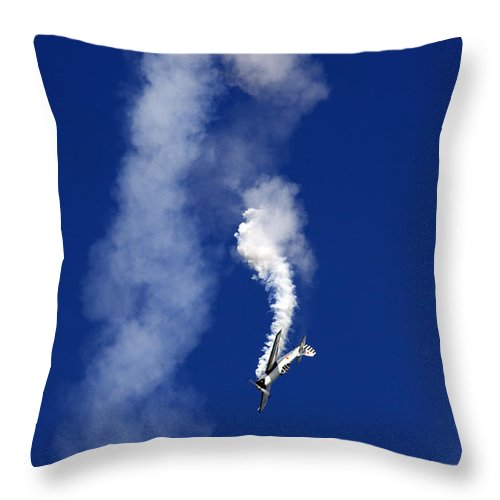 Aerostars Yak-50 Display Team Throw Pillow featuring the photograph Falling Down by Angel Ciesniarska