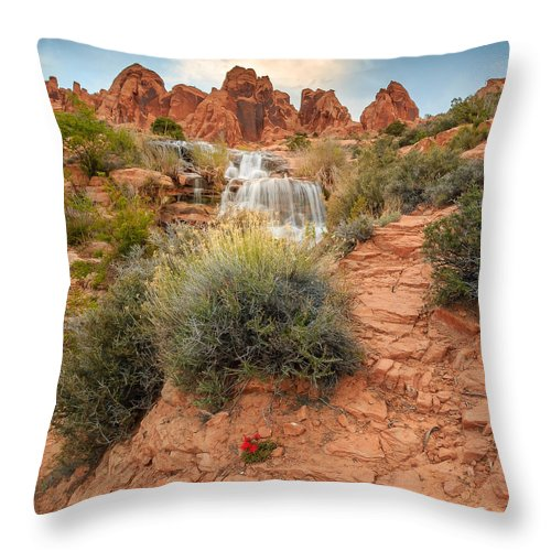 Trailsxposed Throw Pillow featuring the photograph Faux Falls by Gina Herbert
