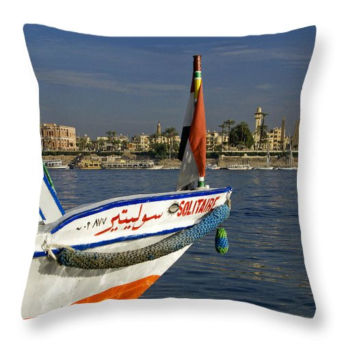 Egypt Throw Pillow featuring the photograph Felucca On The Nile by Michele Burgess
