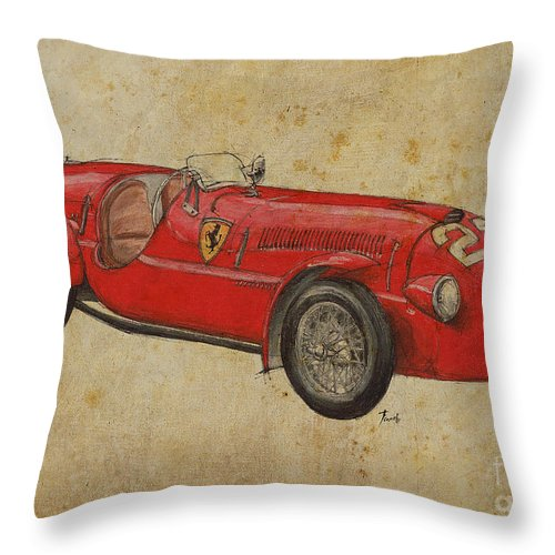 Ferrari Throw Pillow featuring the drawing Ferrari 166s by Drawspots Illustrations