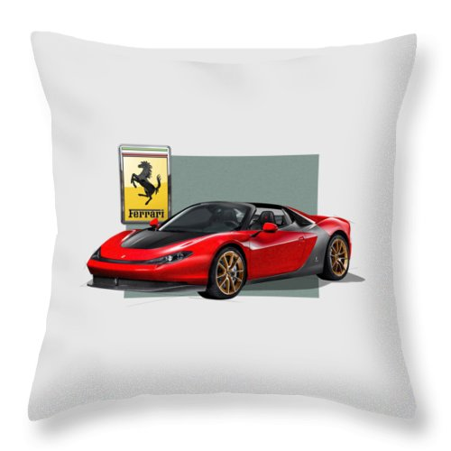 �ferrari� Collection By Serge Averbukh Throw Pillow featuring the photograph Ferrari Sergio with 3D Badge by Serge Averbukh