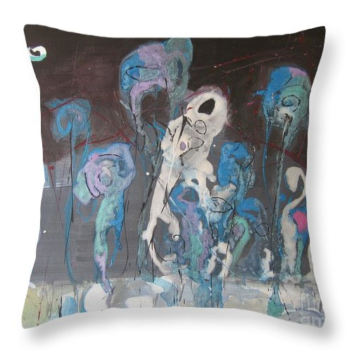 Fiddleheads Paintings Throw Pillow featuring the painting Fiddleheads 3 by Seon-Jeong Kim