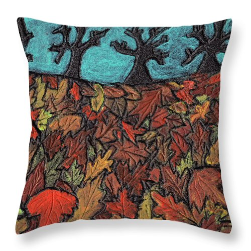 Leaves Throw Pillow featuring the painting Finding Autumn Leaves by Wayne Potrafka