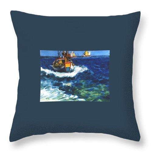 Fishing Throw Pillow featuring the painting Fishing Boat by Guanyu Shi