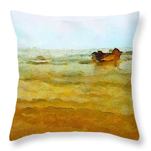 Abstract Throw Pillow featuring the photograph Fishing Boat by Galeria Trompiz