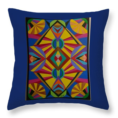 Geometric Abstract Throw Pillow featuring the painting Flash Bang by Dennis Rugtvedt