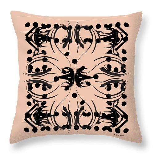 Pink Throw Pillow featuring the digital art Flora Feline Blush by Valerie Smith