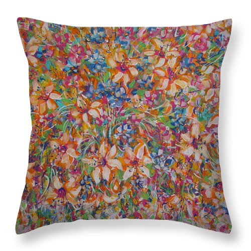 Flowers Throw Pillow featuring the painting Flower Galaxy by Natalie Holland
