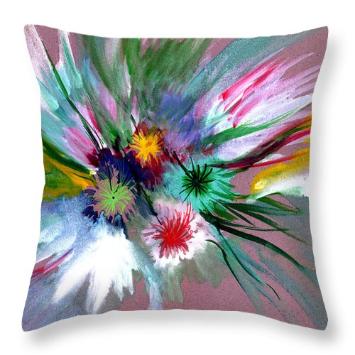 Flowers Throw Pillow featuring the painting Flowers by Anil Nene