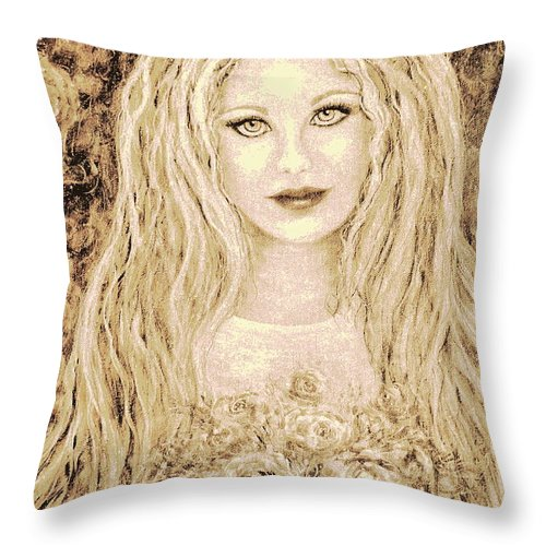 Portrait Throw Pillow featuring the painting Flowers For You by Natalie Holland