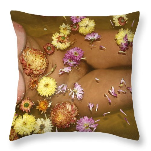 Lucky Cole Everglades Photographer Female Nude Everglades Throw Pillow featuring the photograph Flowers by Lucky Cole