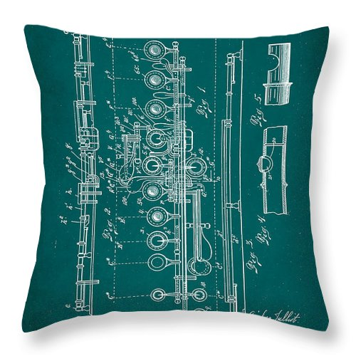 Patent Throw Pillow featuring the mixed media Flute Patent Drawing 2f by Brian Reaves