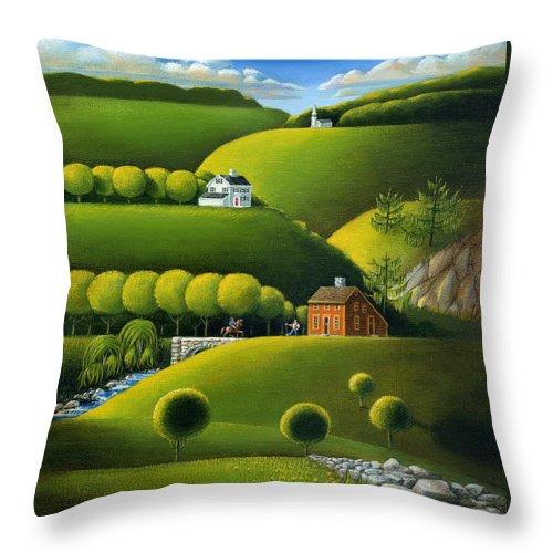 Deecken Throw Pillow featuring the painting Foothills Of The Berkshires by John Deecken