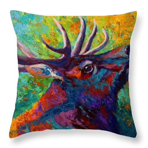 Elk Throw Pillow featuring the painting Forest Echo - Bull Elk by Marion Rose