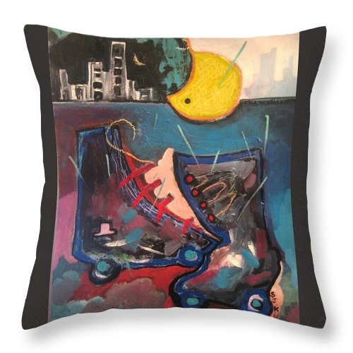 Abstract Paintings Throw Pillow featuring the painting Forgotten Days by Seon-Jeong Kim