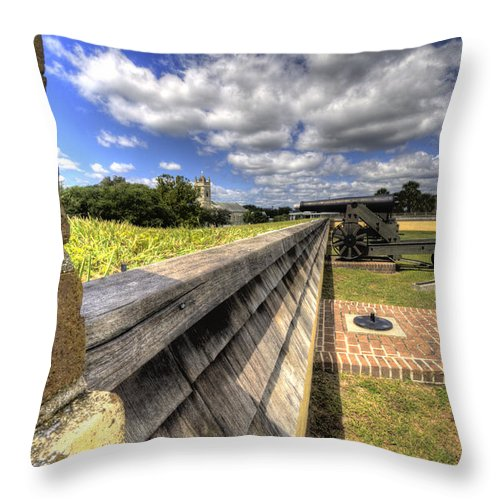 Fort Throw Pillow featuring the photograph Fort Moultrie Cannon by Dustin K Ryan