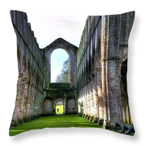 Castle Throw Pillow featuring the photograph Fountains Abbey 7 by Svetlana Sewell