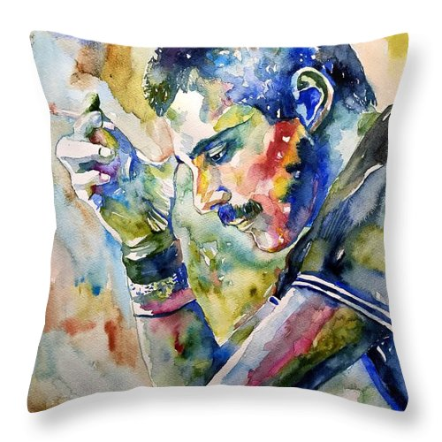 Freddie Throw Pillow featuring the painting Freddie Mercury watercolor by Suzann Sines