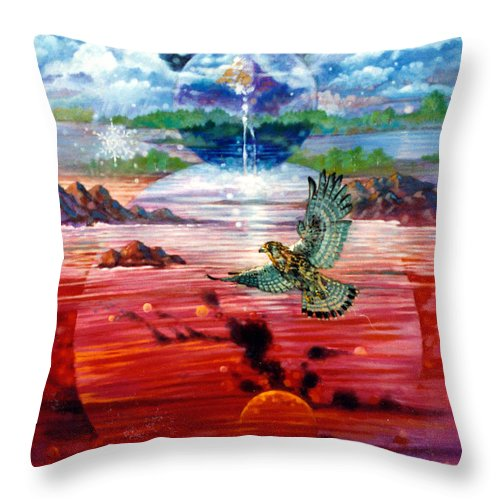 Bird Throw Pillow featuring the painting Free At Last by John Lautermilch