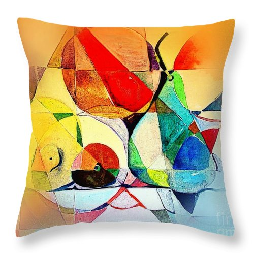 Abstract Throw Pillow featuring the painting Fresh Fruit by Mindy Newman