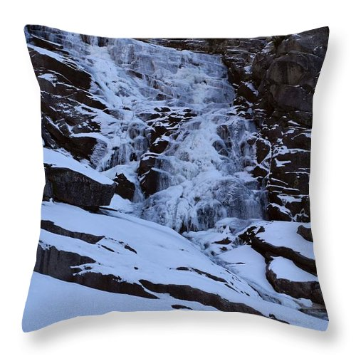 Altitude Throw Pillow featuring the photograph Frozen Tokopah Falls by Will Sylwester