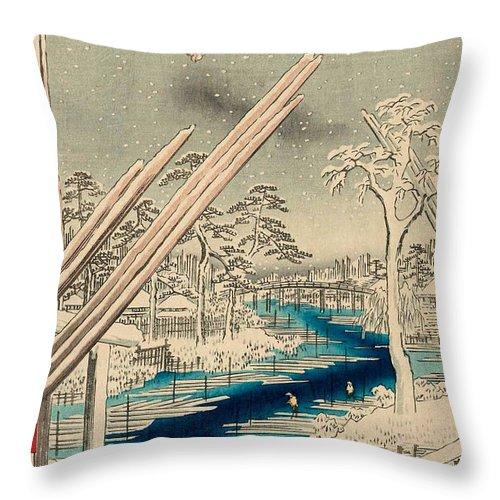 100 Throw Pillow featuring the painting Fukagawa Lumberyards by Utagawa Hiroshige