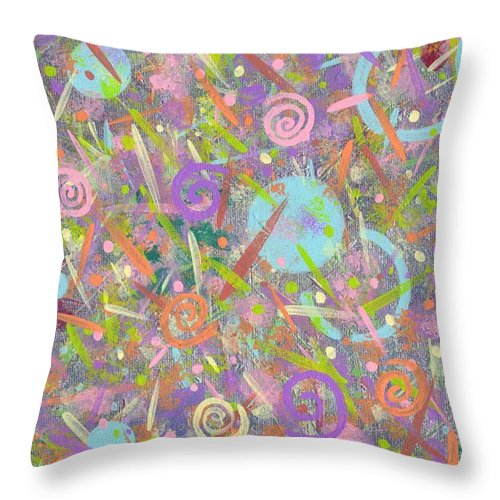 Abstract Throw Pillow featuring the painting Funfetti by Jill Christensen