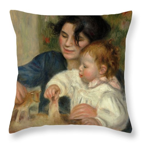 Pierre-auguste Renoir Throw Pillow featuring the painting Gabrielle And Jean by Pierre-Auguste Renoir