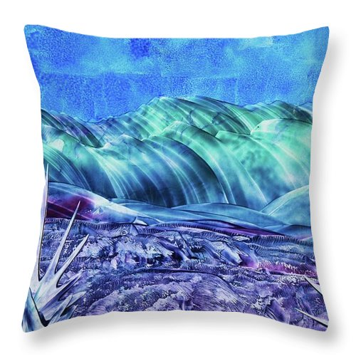 Encaustic Throw Pillow featuring the painting Gallup by Melinda Etzold