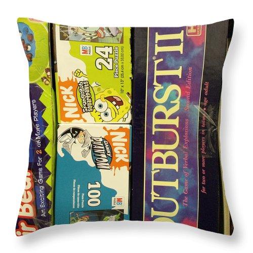 Games Throw Pillow featuring the photograph Game Shelf II by Anna Villarreal Garbis